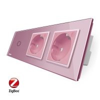 Intrerupator LIVOLO simplu ZigBee cu touch si 2 prize din sticla ZigBee, Control de pe telefon culoare roz