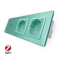 Intrerupator LIVOLO simplu ZigBee cu touch si 2 prize din sticla ZigBee, Control de pe telefon culoare verde