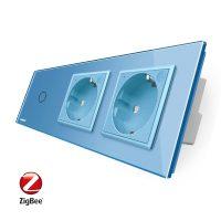 Intrerupator LIVOLO simplu ZigBee cu touch si 2 prize din sticla ZigBee, Control de pe telefon culoare albastra