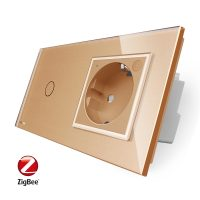 Intrerupator simplu ZigBee + priza simpla ZigBee, Livolo cu rama din sticla, Control de pe telefon culoare aurie