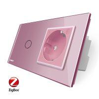 Intrerupator simplu ZigBee + priza simpla ZigBee, Livolo cu rama din sticla, Control de pe telefon culoare roz