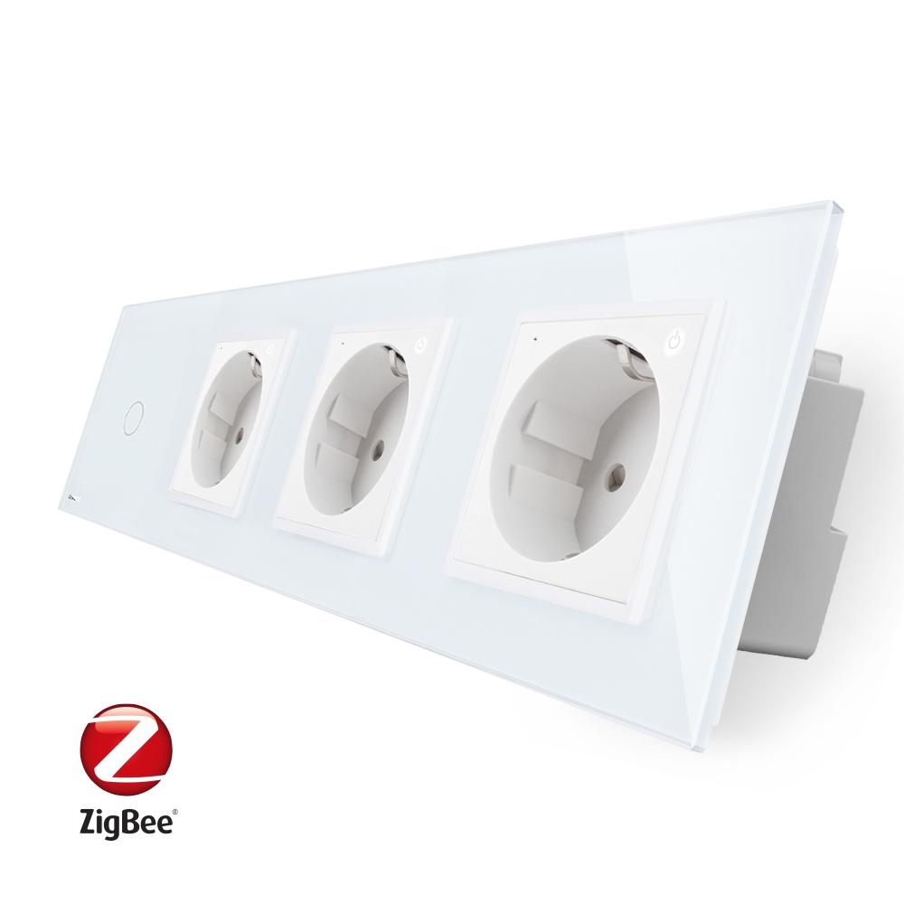 Intrerupator simplu ZigBee + Priza tripla LIVOLO ZigBee cu touch din sticla, Control de pe telefon imagine case-smart.ro 2021