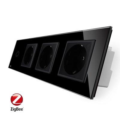 Intrerupator simplu ZigBee + Priza tripla LIVOLO ZigBee cu touch din sticla, Control de pe telefon culoare neagra