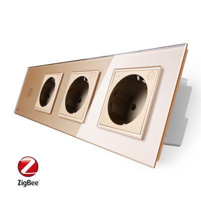 Intrerupator simplu ZigBee + Priza tripla LIVOLO ZigBee cu touch din sticla, Control de pe telefon culoare aurie