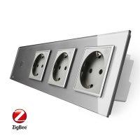 Intrerupator simplu ZigBee + Priza tripla LIVOLO ZigBee cu touch din sticla, Control de pe telefon culoare gri