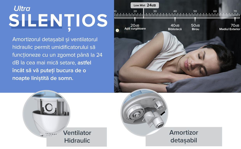 Umidificator Levoit Classic 100-RBL, Ultrasonic, Capacitate 2.4 L, Zgomot 30 dB, Range 10–27 m²