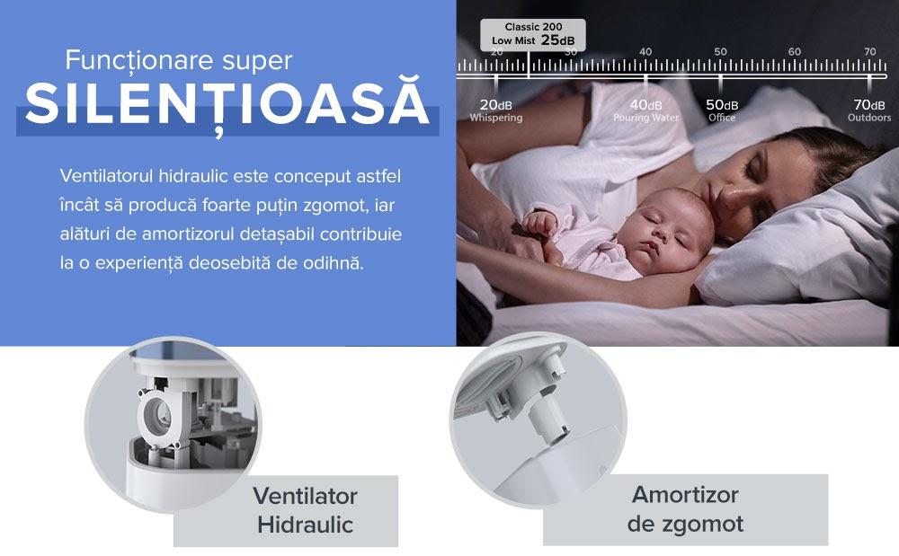 Umidificator Levoit Classic 200-RWH, Capacitate 4 L, Aromaterapie, Oprire automata, Nivel zgomot 30 dB