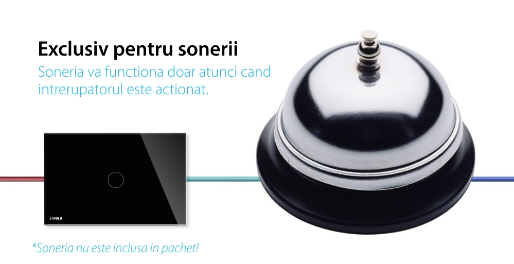 Buton sonerie cu touch Livolo din sticla, Standard italian