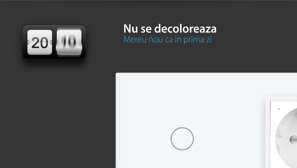 Intrerupator simplu ZigBee + priza simpla ZigBee, Livolo cu rama din sticla, Control de pe telefon