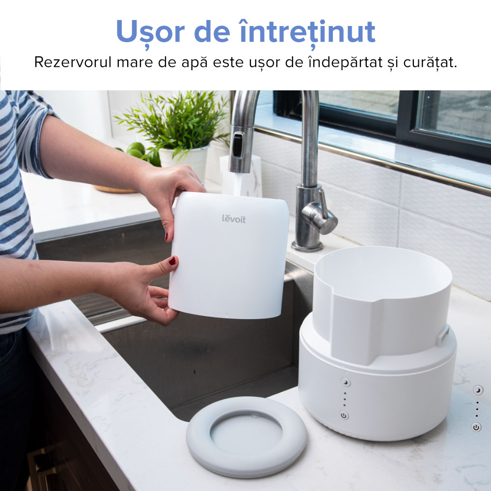 Umidificator si difuzor de arome Levoit Dual 100-RBW, Capacitate 1.8 L, Ultrasunete, Aromaterapie, 3 Nivele