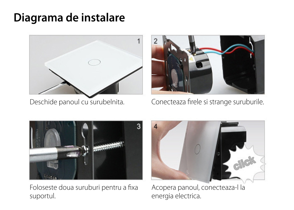 Intrerupator simplu ZigBee + Priza tripla LIVOLO ZigBee cu touch din sticla, Control de pe telefon