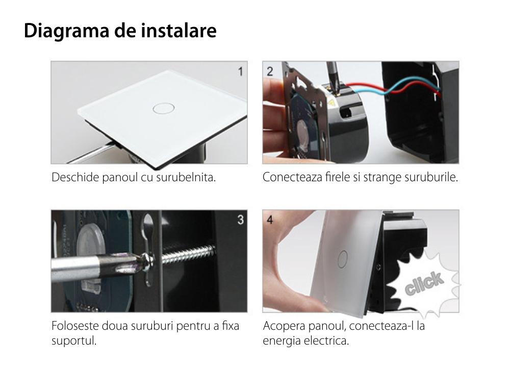 Intrerupator LIVOLO simplu ZigBee cap scara / cap cruce cu touch si 2 prize ZigBee din sticla, Control de pe telefon