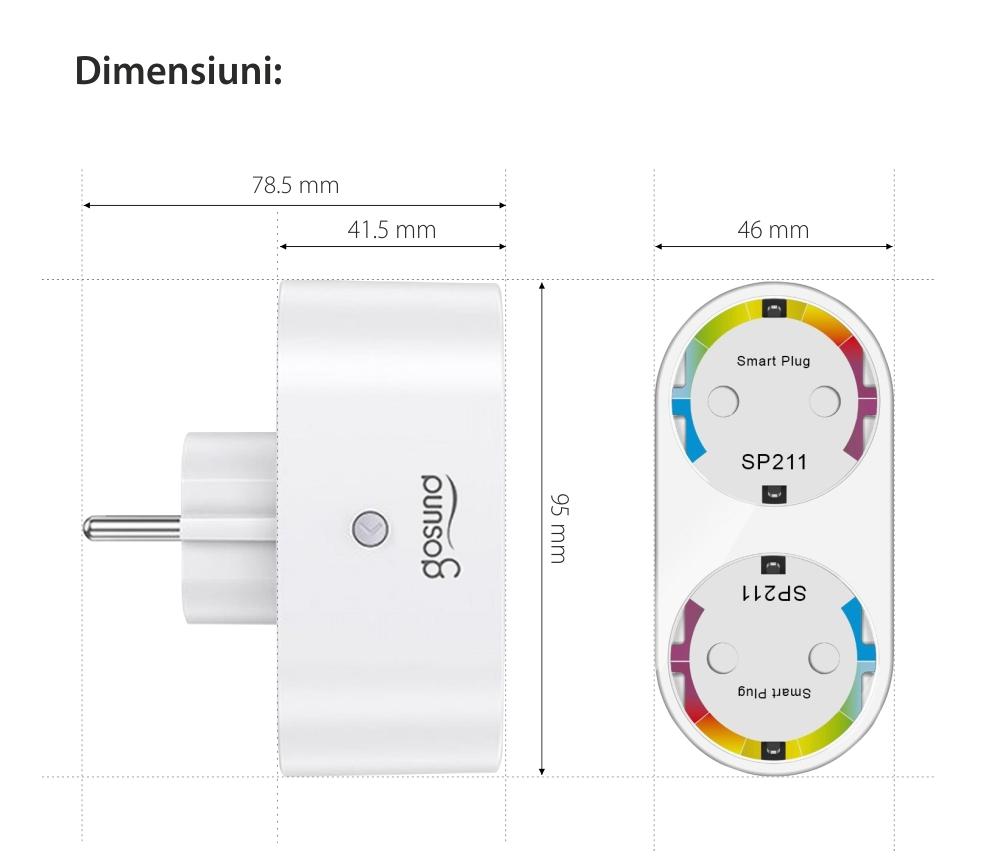 Priza smart dubla Gosund SP211, Control prin aplicatie, Programare si timer Putere max. 3680 W, Curent 16 A