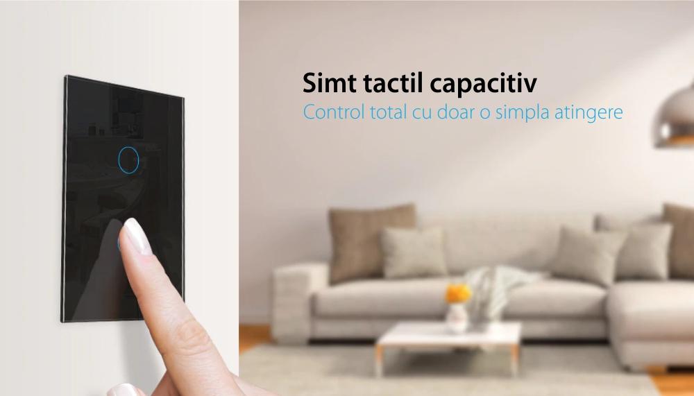 Intrerupator cu touch pentru draperie Livolo din sticla, Wireless, Standard italian