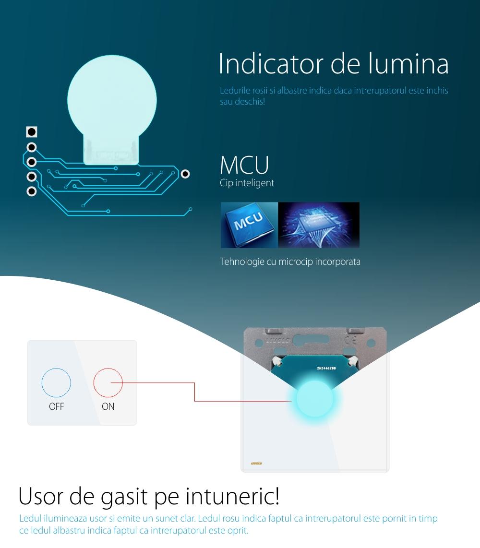 Intrerupator simplu cap scara / cap cruce ZigBee + priza simpla Livolo ZigBee, Rama din sticla, Control de pe telefon