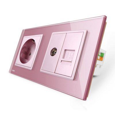Priza dubla Livolo cu rama din sticla 1 priza Schuko+TV/internet culoare roz