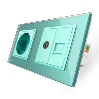 Priza dubla Livolo cu rama din sticla + 1 priza Schuko+TV/internet culoare verde