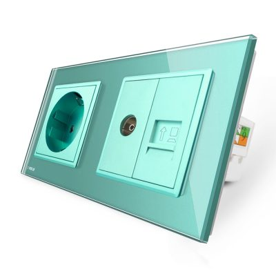 Priza dubla Livolo cu rama din sticla 1 priza Schuko+TV/internet culoare verde