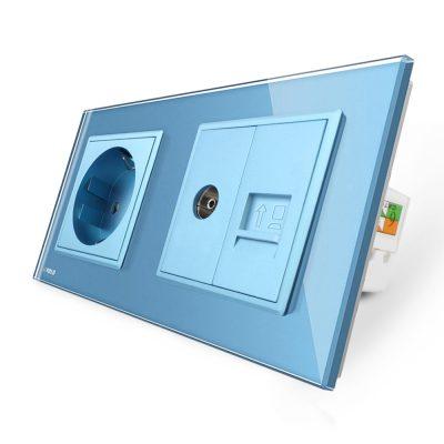Priza dubla Livolo cu rama din sticla 1 priza Schuko+TV/internet culoare albastra