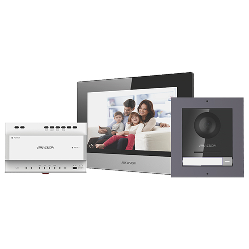 Kit videointerfon IP HIKVISION DS-KIS702, Display 7 inch, Consum 6W, Unghi vizibilitate de 180° imagine case-smart.ro 2021