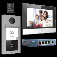 Kit videointerfon pentru familie HikVision DS-KIS604-S, Post exterior 2MP, Monitor 7 inch, Card memore 16 GB