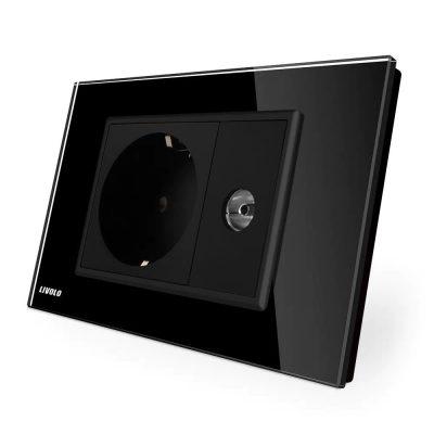 Priza simpla din rama de sticla Schuko cu TV Livolo culoare neagra