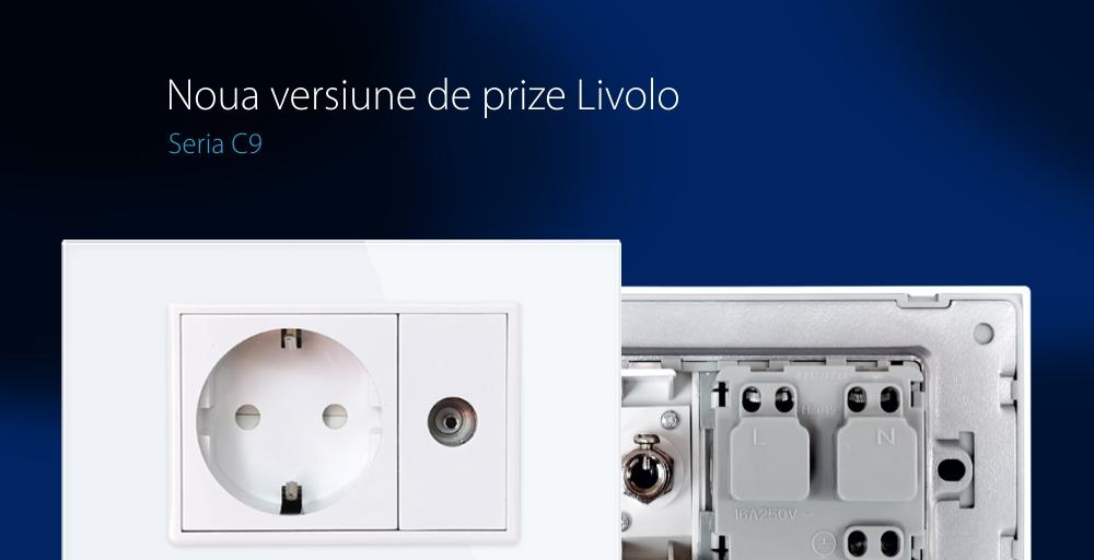 Priza simpla din rama de sticla Schuko cu TV Livolo