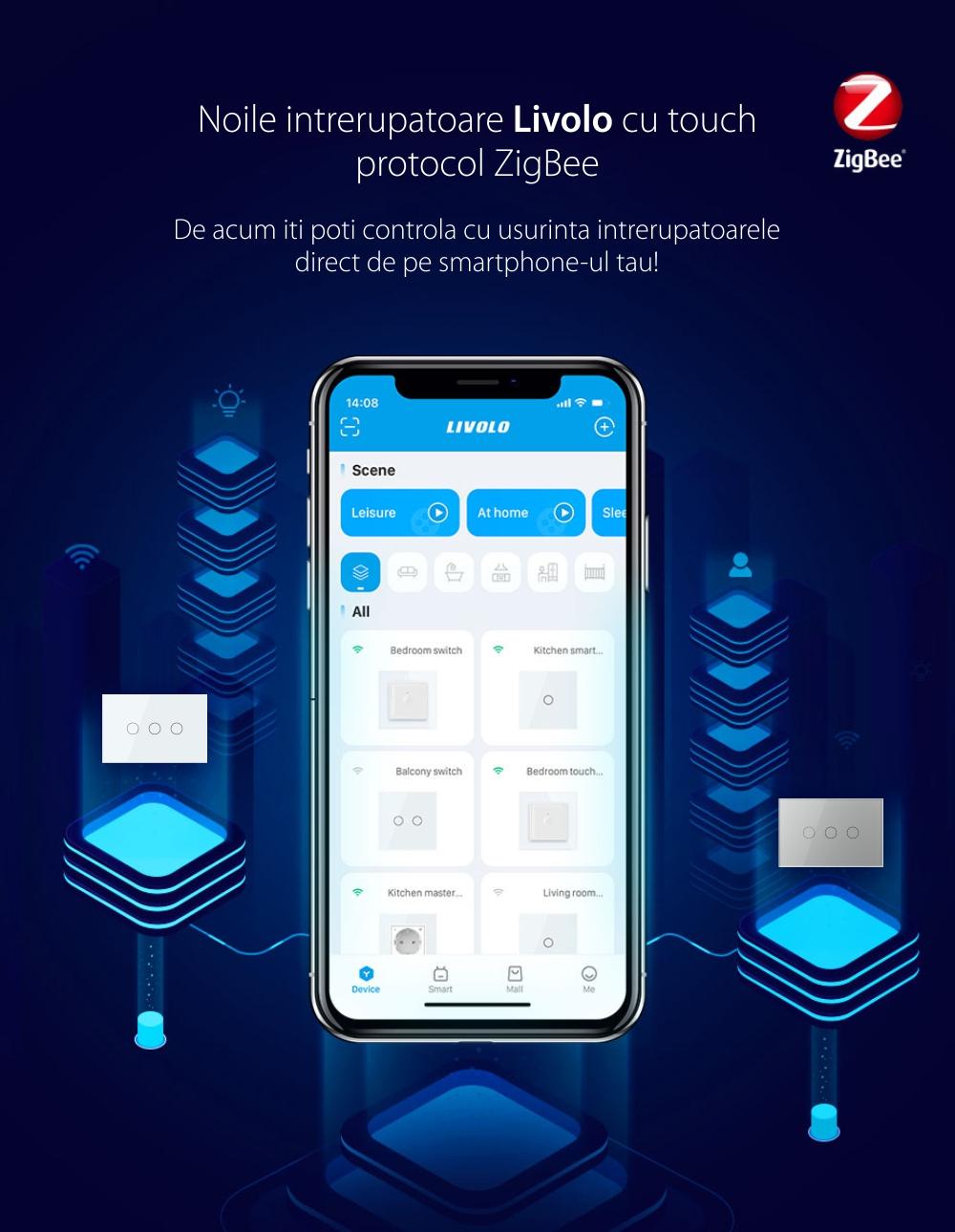 Intrerupator triplu cu touch Livolo din sticla, standard Italian, protocol ZigBee – Serie noua