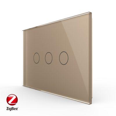 Intrerupator triplu cu touch Livolo din sticla, standard Italian, protocol ZigBee – Serie noua culoare aurie