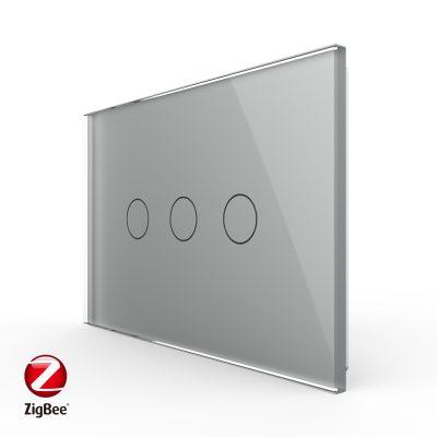Intrerupator triplu cu touch Livolo din sticla, standard Italian, protocol ZigBee – Serie noua culoare gri