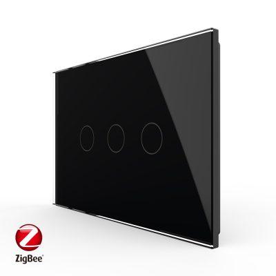 Intrerupator triplu cu touch Livolo din sticla, standard Italian, protocol ZigBee – Serie noua culoare neagra