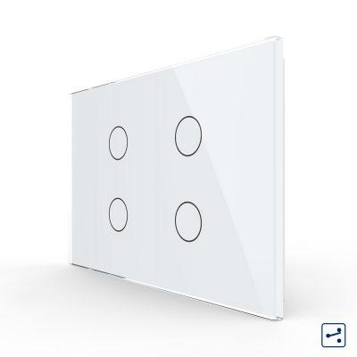 Intrerupator cvadruplu cap scara / cruce cu touch Livolo din sticla, standard Italian – Serie noua