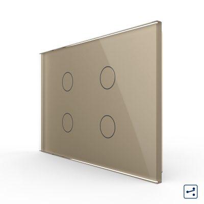 Intrerupator cvadruplu cap scara / cruce cu touch Livolo din sticla, standard Italian – Serie noua culoare aurie