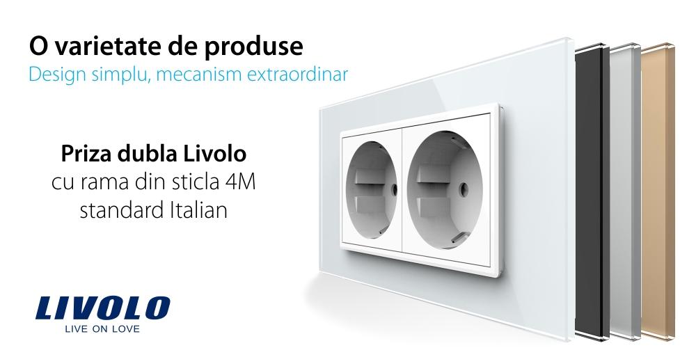 Priza dubla Livolo cu rama din sticla 4M, standard Italian, Serie noua
