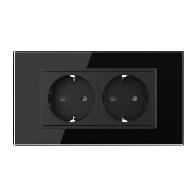 Priza dubla Livolo cu rama din sticla 4M, standard Italian, Serie noua culoare neagra