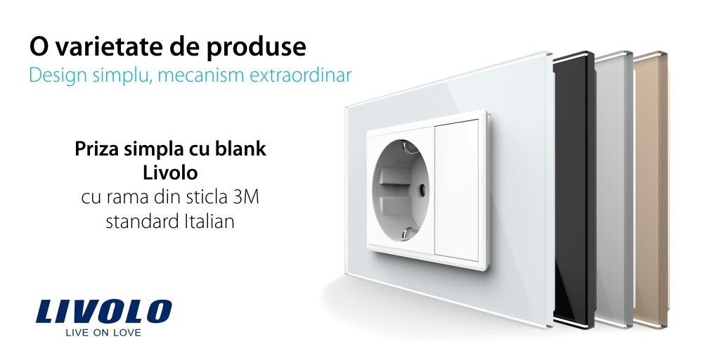Priza simpla cu blank Livolo cu rama din sticla 3M, standard Italian, Serie noua