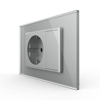 Priza simpla cu blank Livolo cu rama din sticla 3M, standard Italian, Serie noua culoare gri