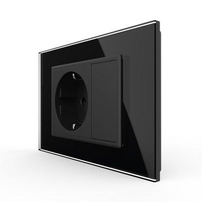 Priza simpla cu blank Livolo cu rama din sticla 3M, standard Italian, Serie noua culoare neagra